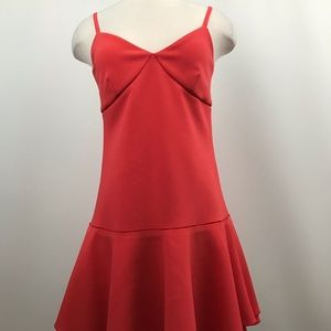 Witchery orange spaghetti flare dress Sz 8